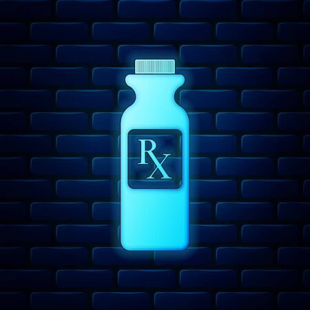 Glowing neon Pill bottle with Rx sign and pills icon isolated on brick wall background. Pharmacy design. Rx as a prescription symbol on drug medicine bottle. Vector Illustration