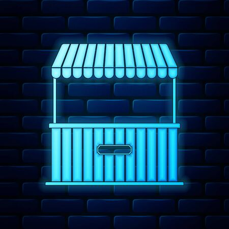 Glowing neon Street stall with awning and wooden rack icon isolated on brick wall background. Kiosk with wooden rack. Vector Illustration Иллюстрация
