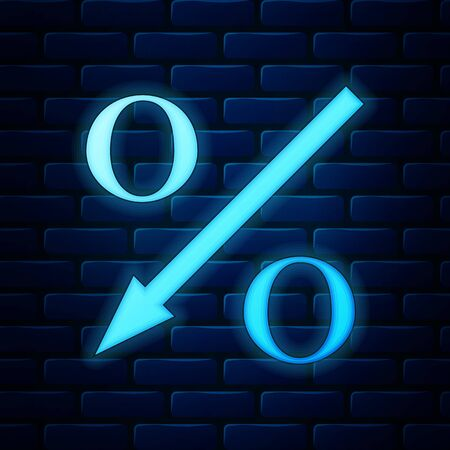 Glowing neon Percent down arrow icon isolated on brick wall background. Decreasing percentage sign. Vector Illustration