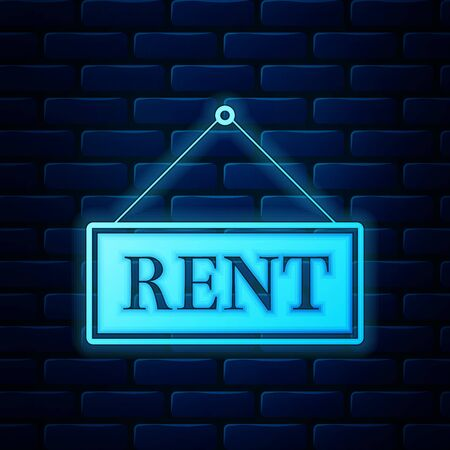 Glowing neon Hanging sign with text Rent icon isolated on brick wall background. Vector Illustration