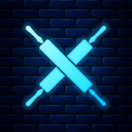 Glowing neon Crossed rolling pins icon isolated on brick wall background. Kitchen utensils and equipment.  Vector Illustration