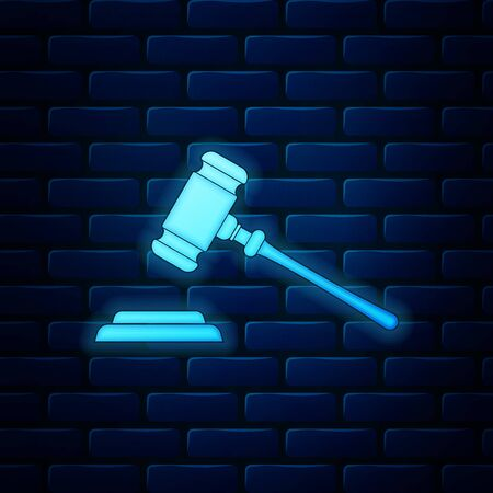 Glowing neon Judge gavel icon isolated on brick wall background. Gavel for adjudication of sentences and bills, court, justice, with a stand. Auction hammer symbol. Vector Illustration