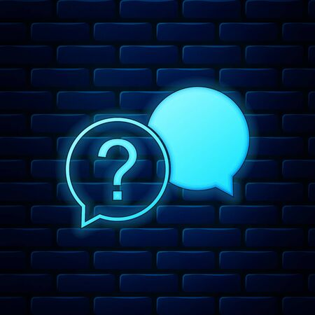 Glowing neon Chat question icon isolated on brick wall background. Help speech bubble symbol. FAQ sign. Question mark sign. Vector Illustration