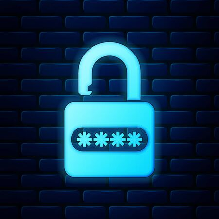 Glowing neon Password protection and safety access icon isolated on brick wall background. Lock icon. Security, safety, protection, privacy concept. Vector Illustration