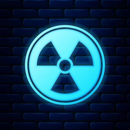 Glowing neon Radioactive icon isolated on brick wall background. Radioactive toxic symbol. Radiation Hazard sign. Vector Illustration