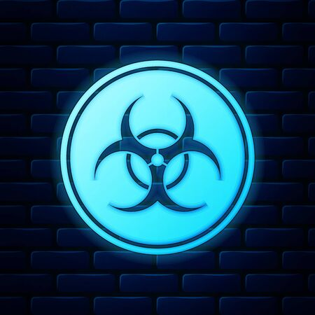 Glowing neon Biohazard symbol icon isolated on brick wall background. Vector Illustration Vectores