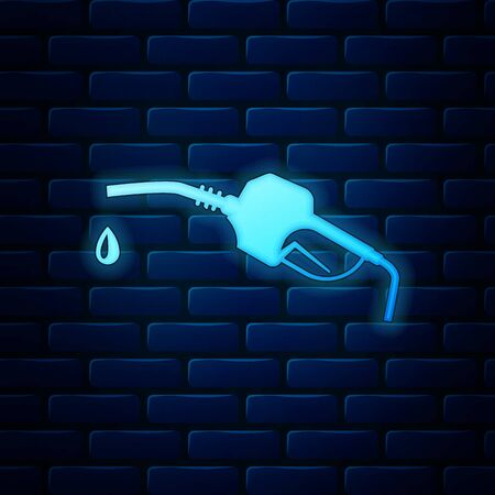 Glowing neon Gasoline pump nozzle icon isolated on brick wall background. Fuel pump petrol station. Refuel service sign. Gas station icon. Vector Illustration