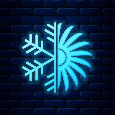 Glowing neon Air conditioner icon isolated on brick wall background. Vector Illustration