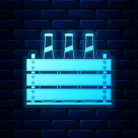 Glowing neon Pack of beer bottles icon isolated on brick wall background. Wooden box and beer bottles. Case crate beer box sign. Vector Illustration Illustration