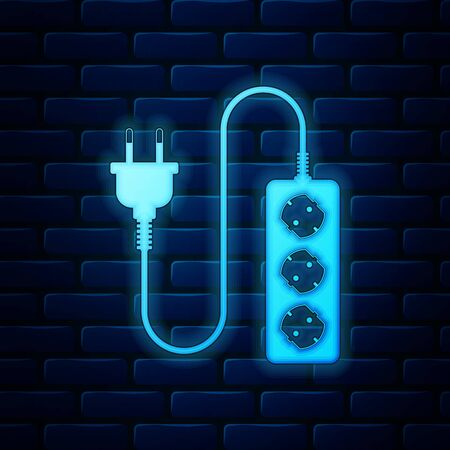 Glowing neon Electric extension cord icon isolated on brick wall background. Power plug socket. Vector Illustration