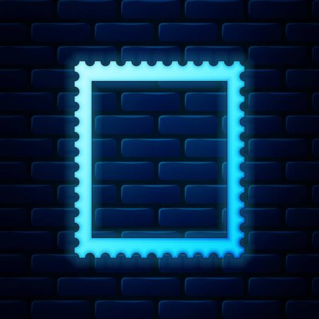 Glowing neon Postal stamp icon isolated on brick wall background. Vector Illustration 일러스트
