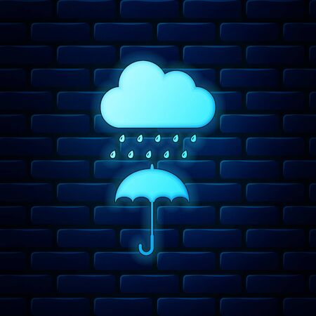 Glowing neon Cloud with rain drop on umbrella icon isolated on brick wall background. Vector Illustration Illustration