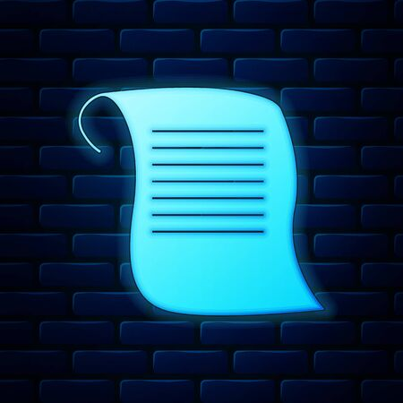 Glowing neon Paper scroll icon isolated on brick wall background. Canvas scroll sign. Vector Illustration Ilustração
