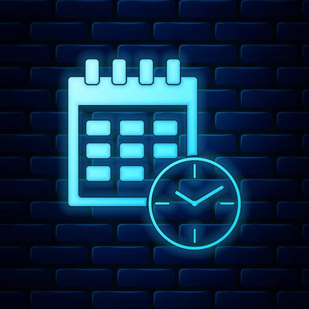 Glowing neon Calendar and clock icon isolated on brick wall background. Schedule, appointment, organizer, timesheet, time management, important date. Date and time sign. Vector Illustration