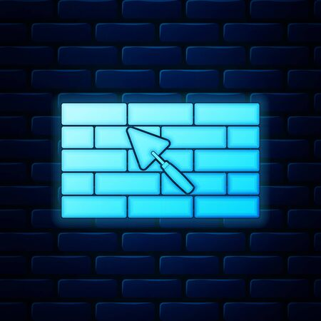 Glowing neon Brick wall with trowel icon isolated on brick wall background. Vector Illustration