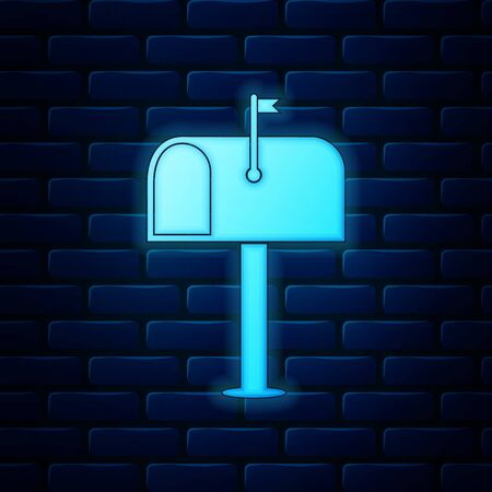 Glowing neon Mail box icon isolated on brick wall background. Mailbox icon. Mail postbox on pole with flag. Vector Illustration
