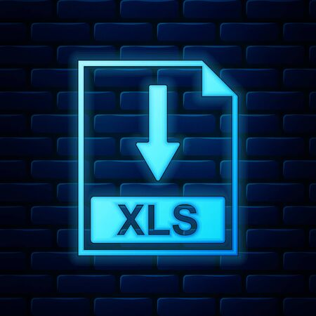 Glowing neon XLS file document icon. Download XLS button icon isolated on brick wall background. Vector Illustration