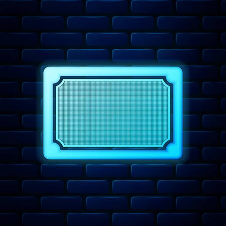 Glowing neon Doormat icon isolated on brick wall background. Welcome mat sign. Vector Illustration