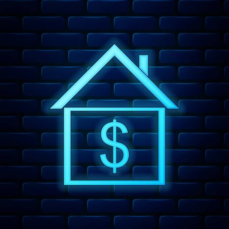 Glowing neon House with dollar icon isolated on brick wall background. Home and money. Real estate concept. Vector Illustration