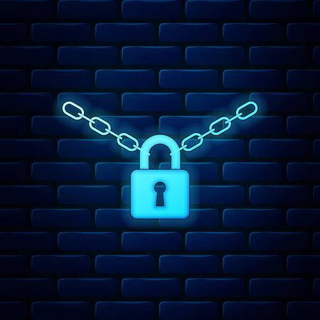 Glowing neon Metal chain and lock icon isolated on brick wall background. Padlock and steel chain. Vector Illustration Çizim