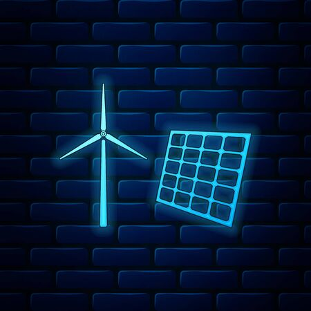 Glowing neon Wind mill turbines generating electricity and solar panel icon isolated on brick wall background. Energy alternative, concept of renewable energy. Vector Illustration