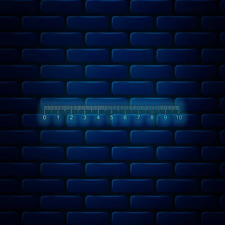 Glowing neon Measuring scale, markup for rulers icon isolated on brick wall background. Size indicators. Different unit distances. Vector Illustration