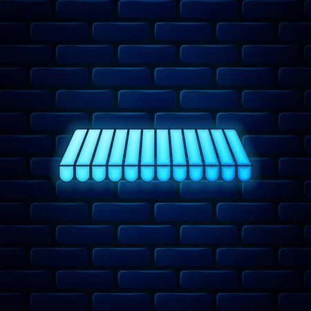 Glowing neon Striped awning icon isolated on brick wall background. Outdoor sunshade sign. Awning canopy for shops, cafes and street restaurants. Vector Illustration Çizim