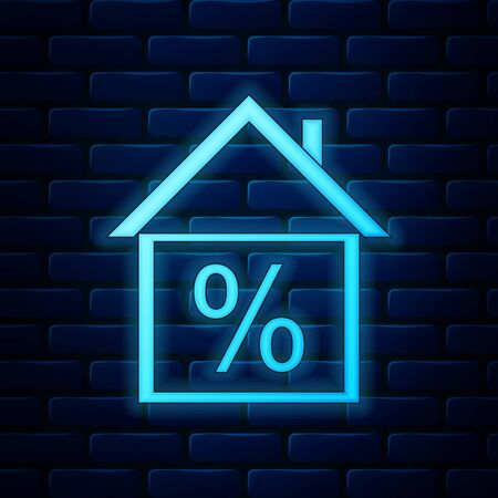 Glowing neon House with discount tag icon isolated on brick wall background. House percentage sign price. Real estate home. Credit percentage symbol. Money loan. Vector Illustration 일러스트