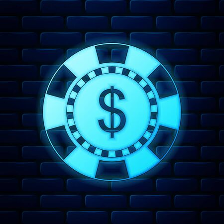 Glowing neon Casino chip and dollar symbol icon isolated on brick wall background. Vector Illustration