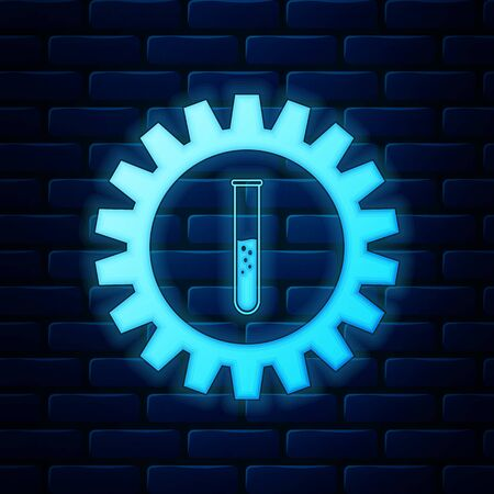 Glowing neon Gear and test tube icon isolated on brick wall background. Cogwheel and flask sign. Experiment laboratory glass chemical research symbol. Vector Illustration