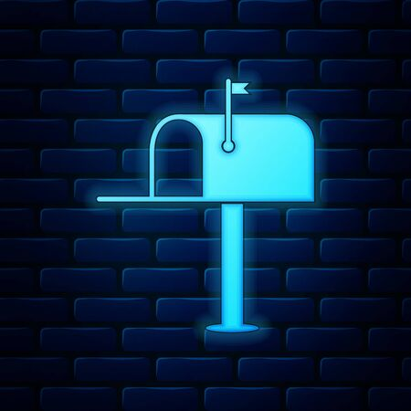 Glowing neon Open mail box icon isolated on brick wall background. Mailbox icon. Mail postbox on pole with flag. Vector Illustration