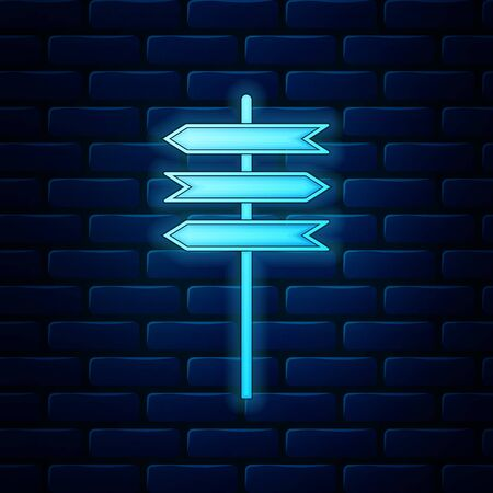 Glowing neon Road traffic sign. Signpost icon isolated on brick wall background. Pointer symbol. Blank board with place for text. Isolated street information sign. Direction sign. Vector Illustration