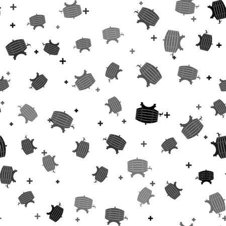 Black Wooden barrel on rack with stopcock icon isolated seamless pattern on white background. Vector Illustration Banque d'images - 139265380
