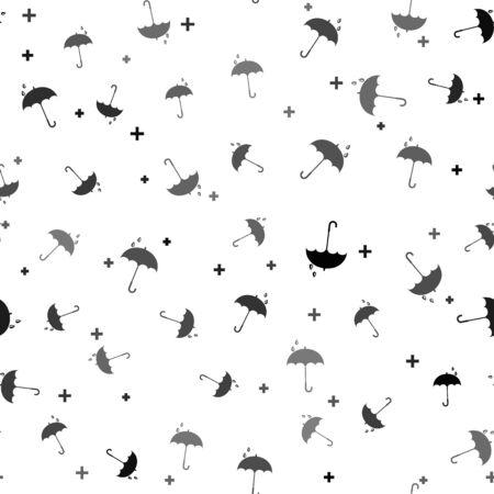 Black Classic elegant opened umbrella icon isolated seamless pattern on white background. Rain protection symbol. Vector Illustration