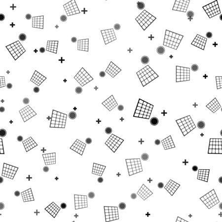 Black Solar energy panel and sun icon isolated seamless pattern on white background. Vector Illustration Иллюстрация