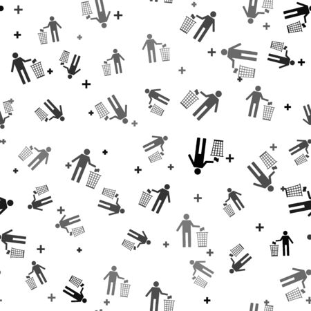 Black Man throwing trash into dust bin icon isolated seamless pattern on white background. Recycle symbol. Vector Illustration Иллюстрация