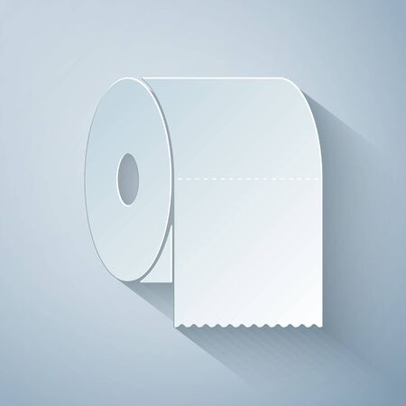 Paper cut Toilet paper roll icon isolated on grey background. Paper art style. Vector Illustration Vectores