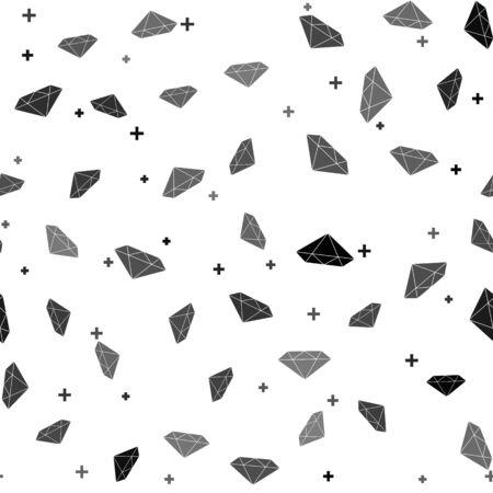 Black Diamond icon isolated seamless pattern on white background. Jewelry symbol. Gem stone. Vector Illustration