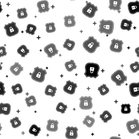 Black Shield security with lock icon isolated seamless pattern on white background. Protection, safety, password security. Firewall access privacy sign. Vector Illustration