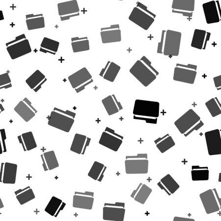 Black Folder icon isolated seamless pattern on white background. Vector Illustration