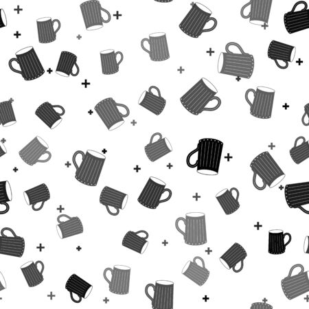 Black Wooden beer mug icon isolated seamless pattern on white background. Vector Illustration Иллюстрация