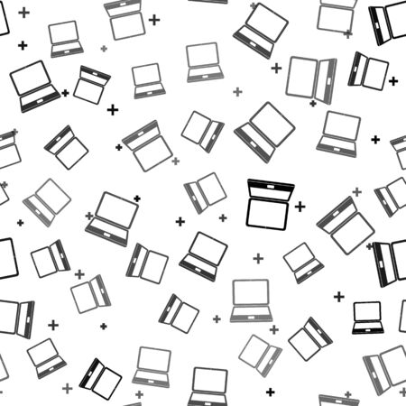 Black Laptop icon isolated seamless pattern on white background. Computer notebook with empty screen sign. Vector Illustration Иллюстрация