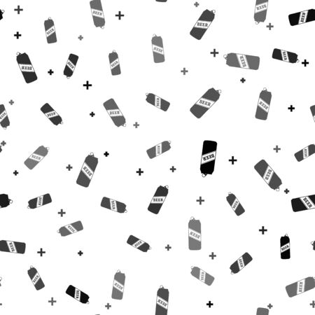 Black Beer can icon isolated seamless pattern on white background. Vector Illustration