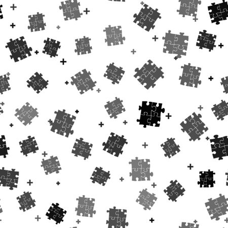 Black Piece of puzzle icon isolated seamless pattern on white background. Business, marketing, finance, template, layout, infographics, internet concept. Vector Illustration