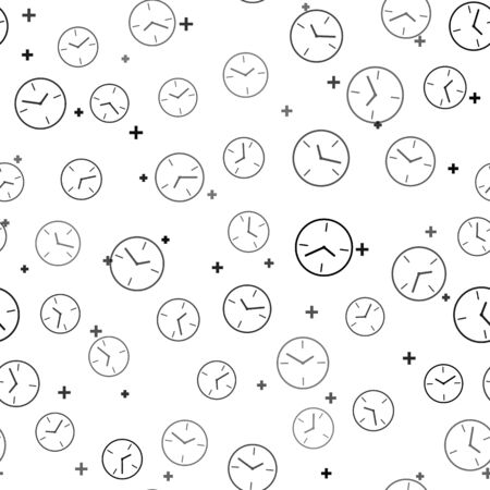 Black Clock icon isolated seamless pattern on white background. Time symbol. Vector Illustration