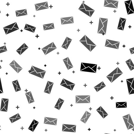 Black Envelope icon isolated seamless pattern on white background. Email message letter symbol. Vector Illustration