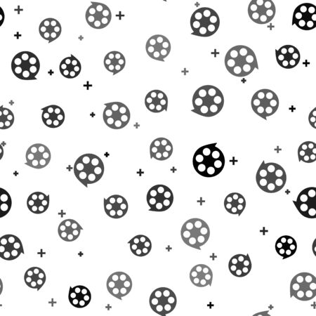 Black Film reel icon isolated seamless pattern on white background. Vector Illustration