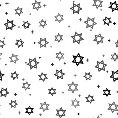 Black Star of David icon isolated seamless pattern on white background. Jewish religion symbol. Vector Illustration
