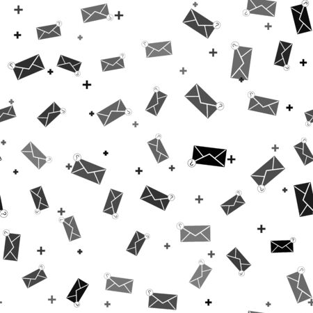 Black Envelope with question mark icon isolated seamless pattern on white background. Letter with question mark symbol. Send in request by email. Vector Illustration