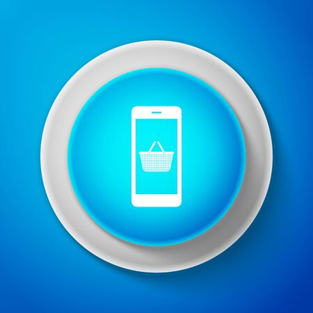 White Mobile phone and shopping basket icon isolated on blue background. Online buying symbol. Supermarket basket symbol. Circle blue button. Vector Illustration